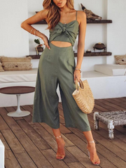 Casual Striped Wrap Jumpsuits