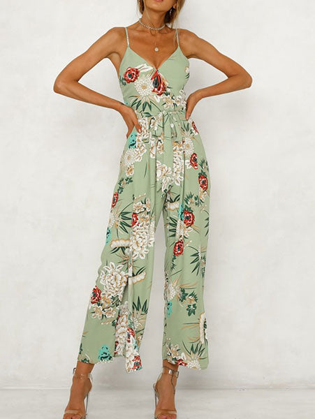 Chic Floral Print Side-Slit Jumpsuit