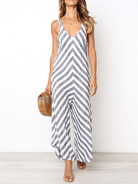 Chic Loose Striped Jumpsuit