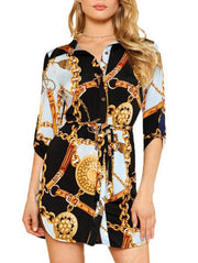 Chic Loose Print Shirt Dress