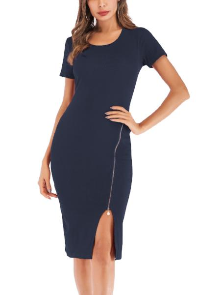 Chic Round Neck Wrap Dress