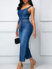 Chic Tie-Waist Denim Jumpsuit