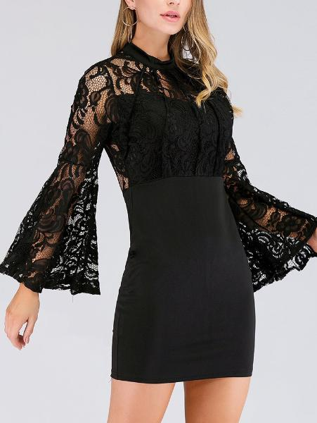 Chic Trumpet-Sleeve Lace Dress