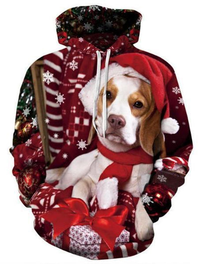 Christmas Digital 3D Puppy Hooded Sweater