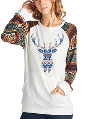 Christmas Elk Print Sweater