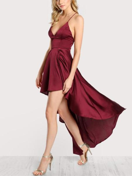 Deep V Neck High-Low Cami Dress