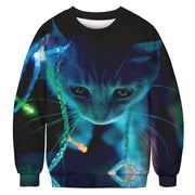 Digital Print Christmas Cat Sweater