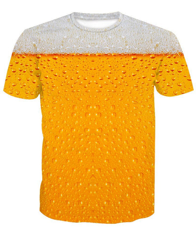 Men's Digital Beer Print T-Shirt