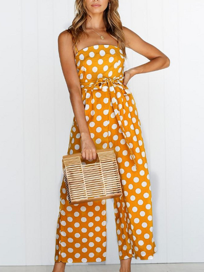 Dot Candy-Color Print Sleeveless Long Jumpsuit