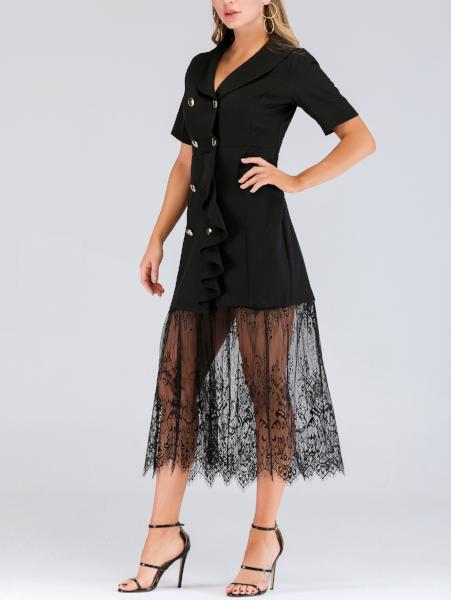 Double-Breasted Lace Ruffle Dress