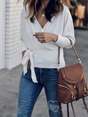 Elegant V Neck Bow-Front Sweater