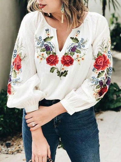 Embroidered Floral Print V Neck Top