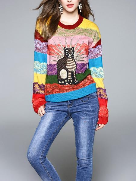 Embroidered Rainbow Striped Sweater