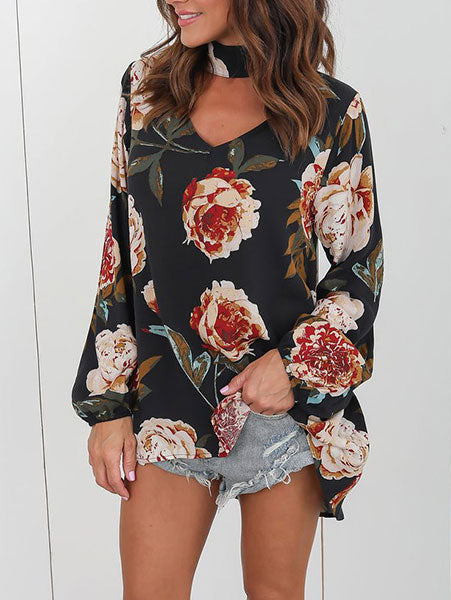 Fashion Floral Print Loose Top