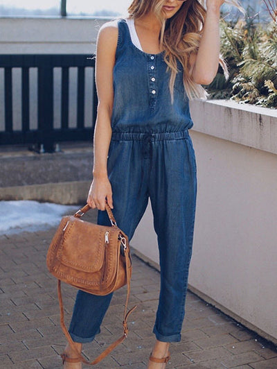 Fashion Round Neck Tie-Waist Jumpsuit
