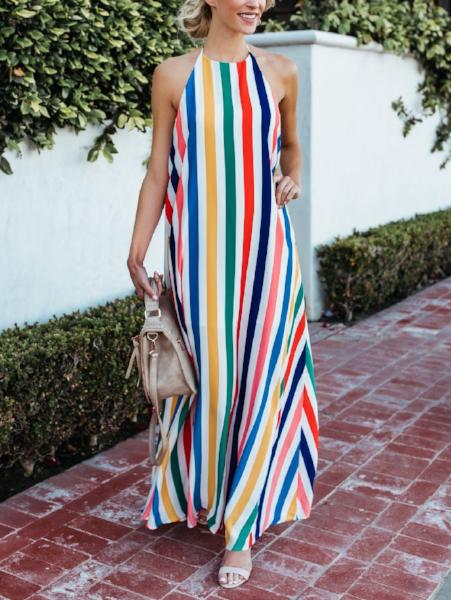 Fashion Backless Beach Maxi Dress