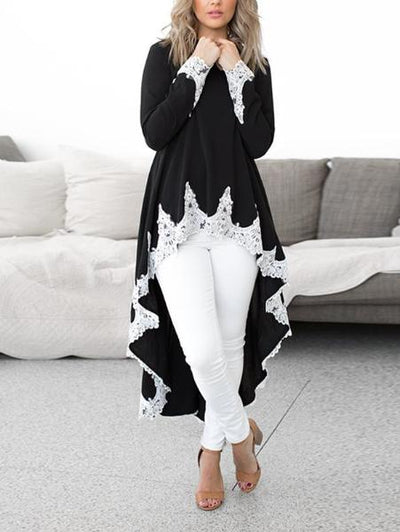 Fashion Lace Irregular Long Sleeve Dress
