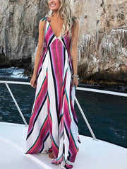 Fashion Print V Neck Maxi Dress