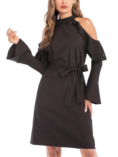 Fashion Round Neck Black Dress