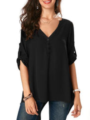 Fashion V-Neck Loose Shirt
