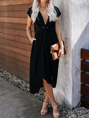 Fashion V Neck Split Dress