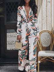 Floral Print Deep V Neck Jumpsuit