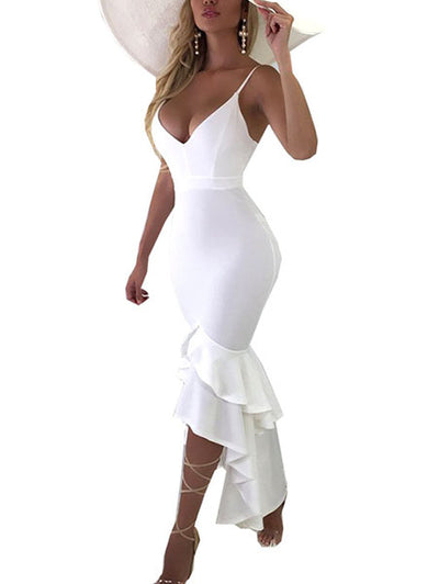 High-Low Ruffle Bodycon Cami Dress