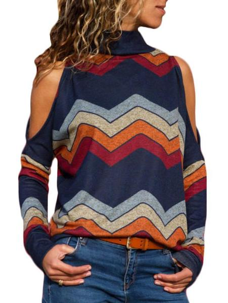 High Neck Strapless Long Sleeve Rainbow Knitwear