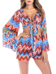 V-Neck Short Lantern-Sleeve Top & Shorts Set