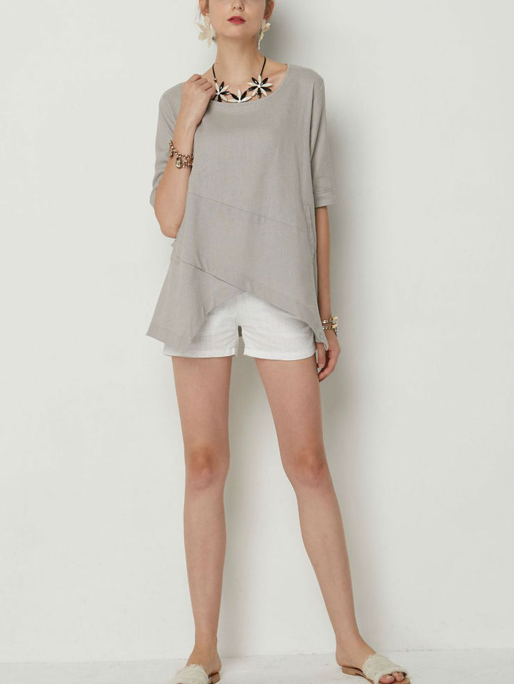 Irregular Casual Round Neck Top