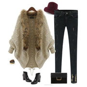Knit Cardigan Bat Sleeve Fur Collar Sweater Outerwear