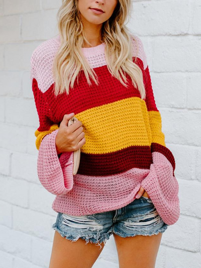Large Size Loose Striped Rainbow Sweater