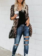 Leopard Mid-length Cardigan Sweater