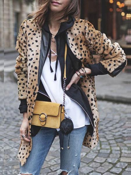 Leopard Print Circular Collar Splicing PU Leather Coat