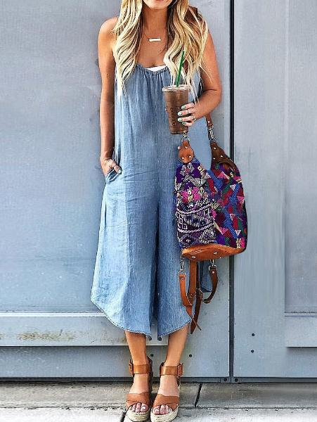 Light Blue Loose Jumpsuit