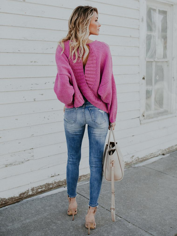Loose Backless Bat Sleeve Sweater