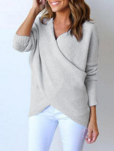 Loose Irregular V Neck Pullover Sweater