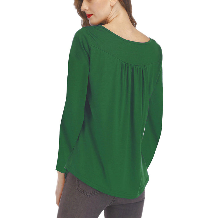 Loose Long Sleeve Buttoned T-shirt