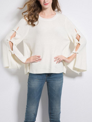 Loose Round Neck Bow Hollow Sweater