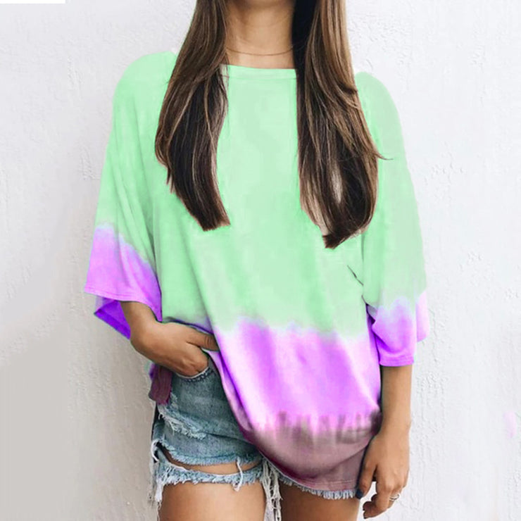 Loose casual printed round neck T-shirt