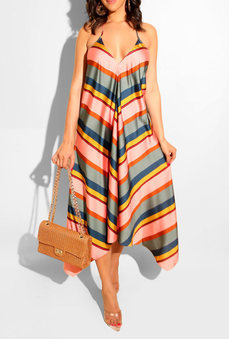 Multicolor Striped Backless Dress