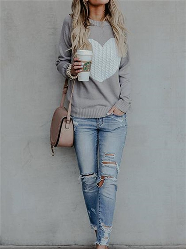 OL Pullover Round Neck Sweater