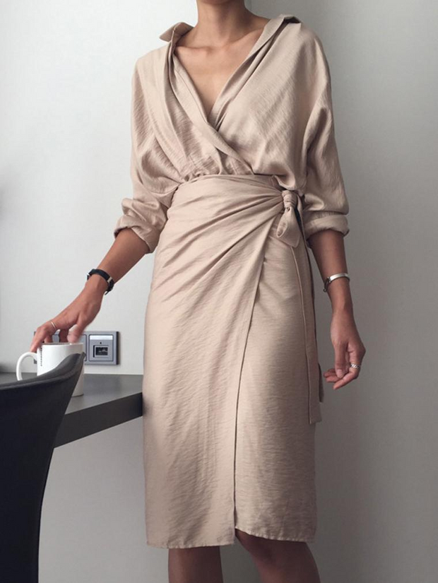 OL V-neck Long Sleeved Dress