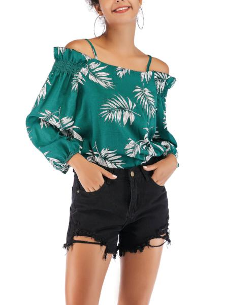 Off-the-Shoulder Long Sleeve Cami Shirt