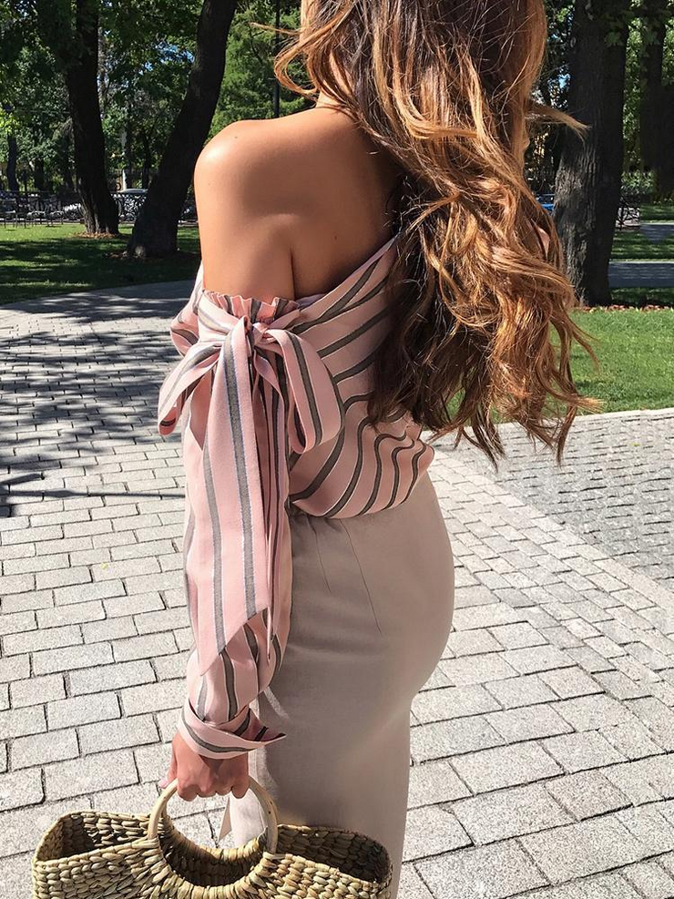 Off Shoulder Bowknot Stripes Blouses