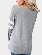 One-Shoulder Long-Sleeved Loose T-shirt