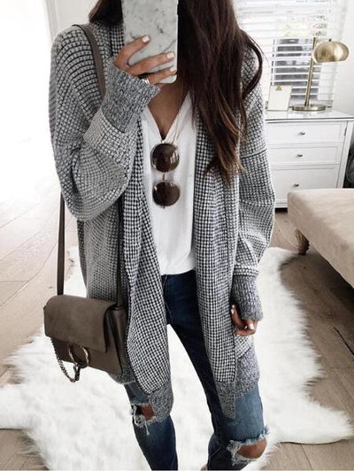 Plaid Cardigan Coat