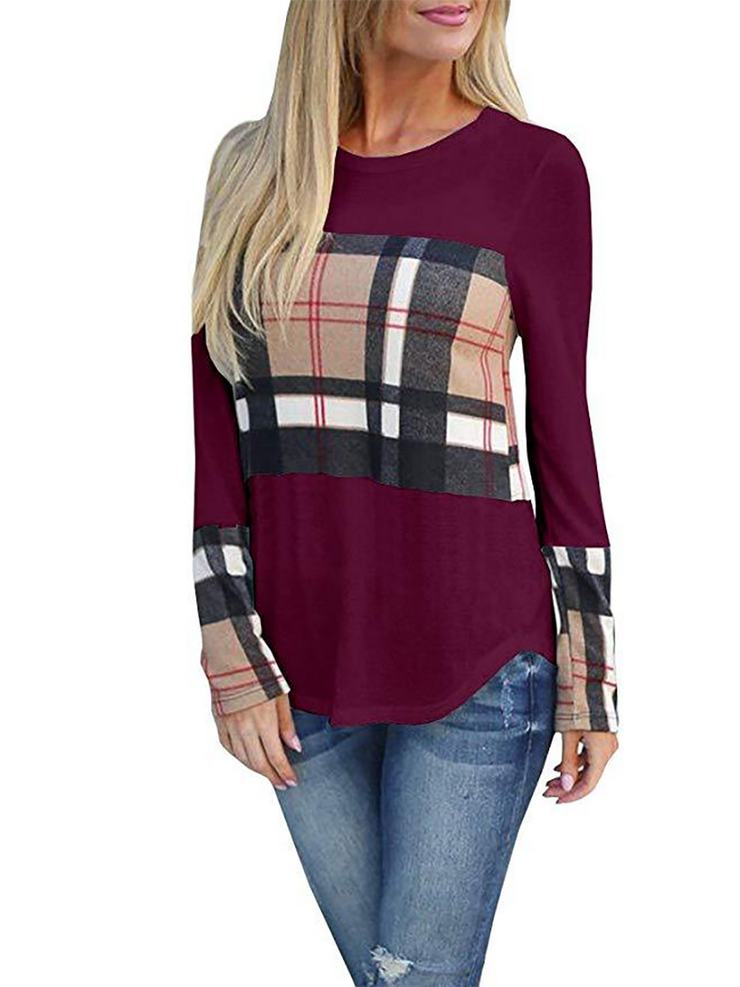 Plaid Long Sleeve T-Shirt