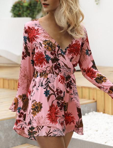 Printed Long Sleeve Jumpsuit