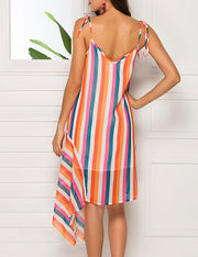 Rainbow Color Striped Irregular Dress